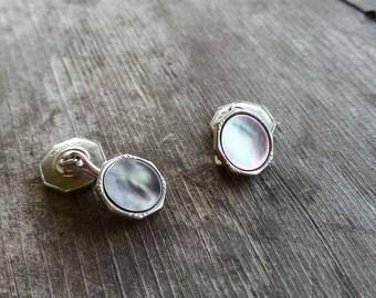 Swank Abalone Vintage Silver Tone Cufflinks