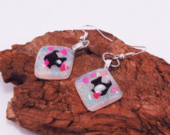 Scottie Dog Earrings, Scottish Terrier, Hearts, Resin, I love Scotties, Puppies, Glitter