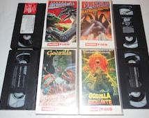 4x Godzilla Movies Vintage VHS Cassette Tapes