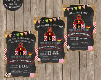 Farm Birthday Invitation - Farm Theme Birthday Invitations - Printable Farm Birthday Invite - Chalkboard Farm Birthday Party