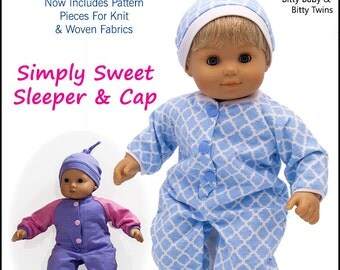 Pixie Faire Baby Mine Bitty Baby Simply Sweet Sleeper and Cap Doll Clothes Pattern for 15 inch Dolls - PDF