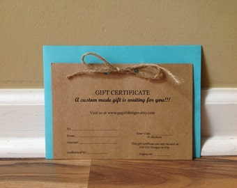 Gift Certificate Gift Card Christmas Gift Wedding Gift Birthday Anniversary Gift Valentines Day Gift Baby Shower Gift Last Minute Gift Ideas