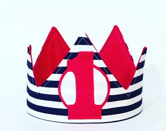 Cute red white and blue crown - nautical crown