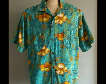 Mens vintage Blue Hawaiian shirt.