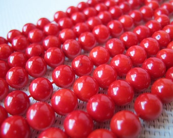 8mm Red Coral Round Beads S263