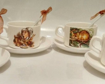 Vintage Alice In Wonderland Tea Cup Set.