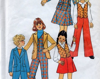 7606 Simplicity Sewing Pattern Jackets Pants Skirt Girls Size 10 Vintage 1970s