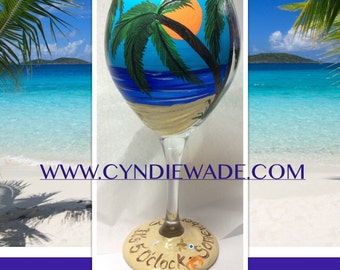 It's 5 o'clock Somewhere Wine Glass  personalized Name written in the sand
