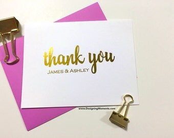 Personalized Thank You Cards - Gold Foil Wedding Thank You - Couples Wedding Stationery - Calligraphy Stationary- Wedding Thank You DM133