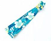 Teal and Green Skinny Reversible Headband - Summer Garden Flowers Green Lily Pad Reversible Headband