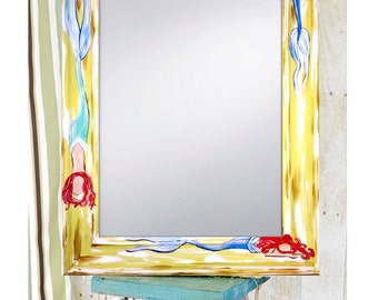 "Hand Painted Mermaid mirror, 22x27"" by Sheila A. Smith"