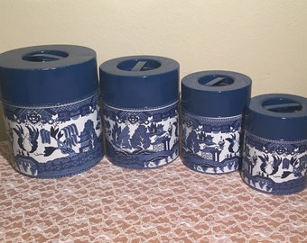 Blue Willow Tin Canister Set (4 Pc)