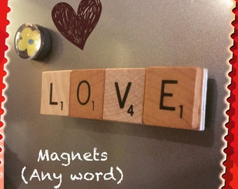 Love, Magnets, Choose ONE WORD for encouragement or inspiration, upcycled, Anniversary gift, Girlfriend gift