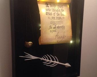 SALE! No Shadowbox Poor Unfortunate Soul Set Little Mermaid Ariel and Ursula Contract Pen Seashell Necklace
