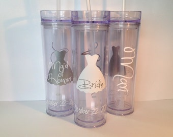 Set of 3 Personalized Bride and Wedding Party Acrylic Skinny Tumblers