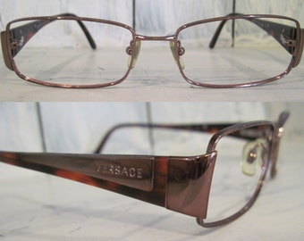 Vintage Versace Made in Italy Amber plastic full rim glasses for women, unistyle unique gift elegant retro eyeglasses frames 135 53 16