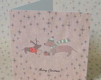 Dachshund Sausage Dog Christmas Card