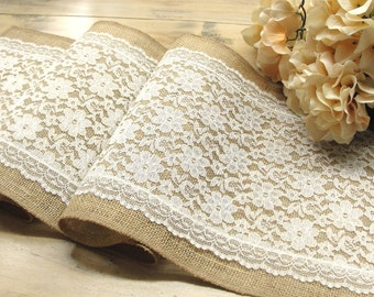 Vintage Wedding Table Runner Ivory Lace  Burlap Table Overlay  Rustic Wedding Decor Burlap table runner, handmade in the USA