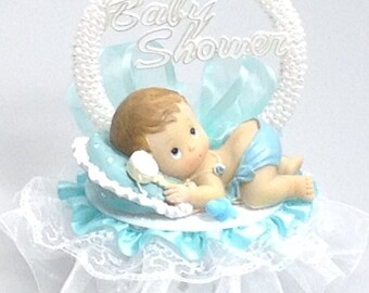 Baby Boy on a pillow Shower Birthday Cake Top Blue  Accent