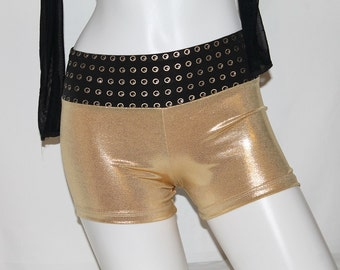 Spandex shorts,Gold Glam with Black waist band