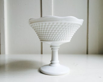Vintage Milk Glass Compote Pedestal, American Hobnail by Westmoreland