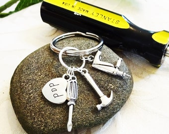 CHOOSE 3 TOOLS KEYCHAIN -  see drop down box to add dad, son, brother, uncle or grandpa charm