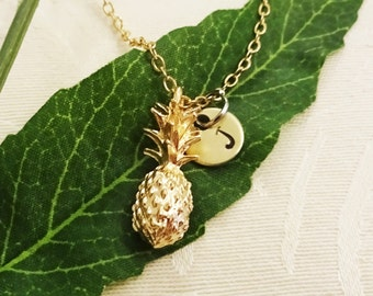 3D PINEAPPLE NECKLACE on a gold plate chain - small delicate pineapple - personalized w initial charm - one flat rate shipping in my shop :)