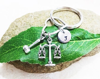 "ATTORNEY LAWYER KEYCHAIN on heart - scales gavel - with initial charm (fits 1-2 letters) Read ""item details"" below and see all photos"