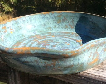 Ceramic Serving Dish - tourmaline and gold