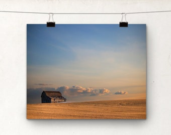 Sunset Barn, Fine Art Photography, Rural Alberta Rustic Photo Print, Spring