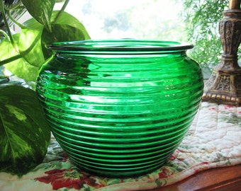Green Glass Planter Vase, Wedding Decor, Table Decor, table vase,