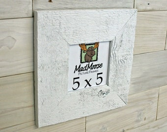 "5x5 PAINTED WHITE Barn Wood [Thin x 3""] Picture Frame"