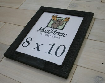 """8x10 PAINTED BLACK Barn Wood [Thin x 1.25""""] Picture Frame . . . (aka 10x8 distressed rustic barn wood frame, man cave rustic frame)"""