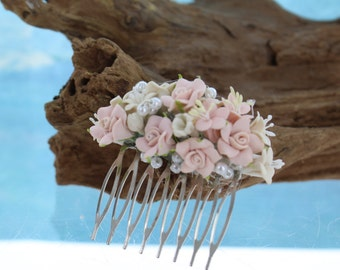 Vintage Clay Blush Roses Bridal Comb/ Hair Comb