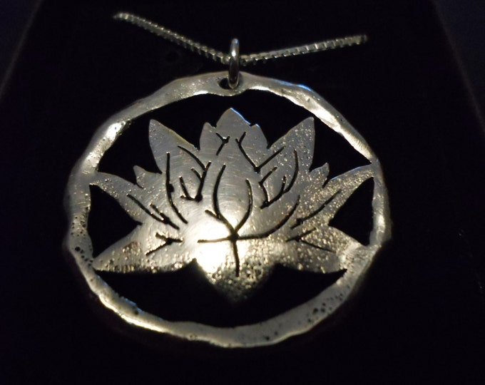 """Large 34mm- 34mm melted Lotus w/20"""" sterling silver chain"""