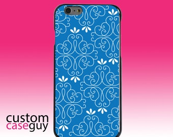 Hard Snap-On Case for Apple 5 5S SE 6 6S 7 Plus - CUSTOM Monogram - Any Colors - Blue White Floral