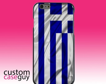 Hard Snap-On Case for Apple 5 5S SE 6 6S 7 Plus - CUSTOM Monogram - Any Colors - Greece Waving Flag