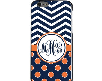 Hard Snap-On Case for Apple 5 5S SE 6 6S 7 Plus - CUSTOM Monogram - Any Colors - Blue White Chevron Polka Dot