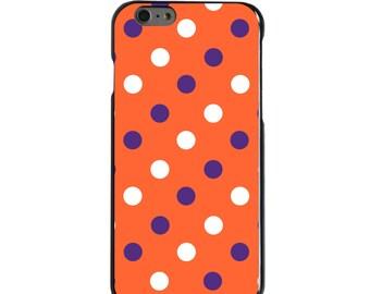 Hard Snap-On Case for Apple 5 5S SE 6 6S 7 Plus - CUSTOM Monogram - Any Colors - Clemson University Tigers Colors - Polka Dots Pattern