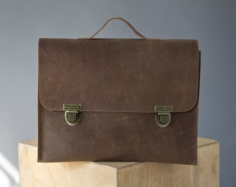 Leather laptop backpack, Brown leather bag, Mens bag, Messenger bag men, Leather briefcase, Crossbody bag, Leather satchel men, Bag for him