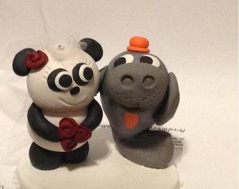 wedding cake topper panda manatee bride and groom