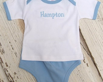 Boys/Babies Blue/white Diaper Cover Set Personalized