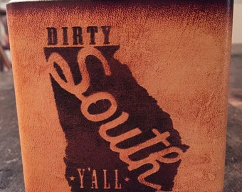 Dirty South Y'all GA leather flask