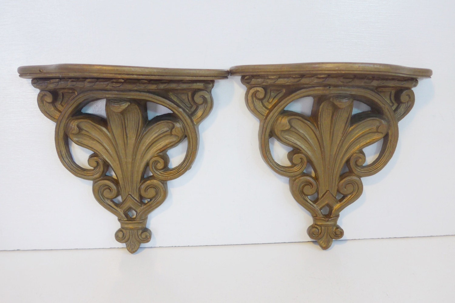 Pair vintage burnished gold ornate wood shelves 2 gold mid pair vintage burnished gold ornate wood shelves 2 gold mid century nifty products retro wall shelves french provincial shabby chic amipublicfo Images