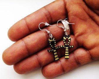 Ankh Earrings gold and black, small wood earrings, 1 inch (2.5 cm), handpainted on all sides, sterling silver