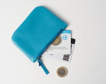 genuine leather zipper purse smooth cosmetic pouch pencil bag small wallet