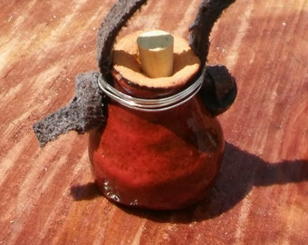Essential oil diffuser pot necklace -red