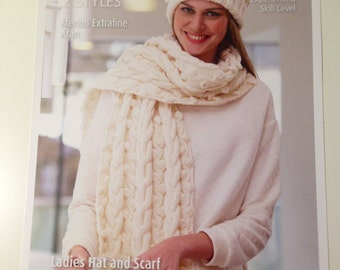 Patons Scarf Ladies Hat, Beanie and Scarf, Advanced Knitting, Cable Pattern, Bobble Pattern, 3592, Chunky Scarf Pattern, Bobble Hat