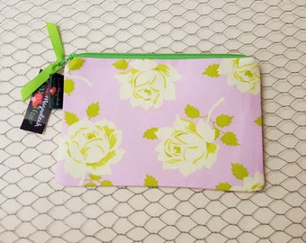 Zipper Pouch, Small Makeup Bag, Cosmetic Pouch, Floral