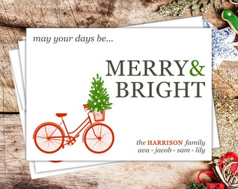 Holiday Christmas Card 2015 Bicycle Christmas Tree Customized for you
